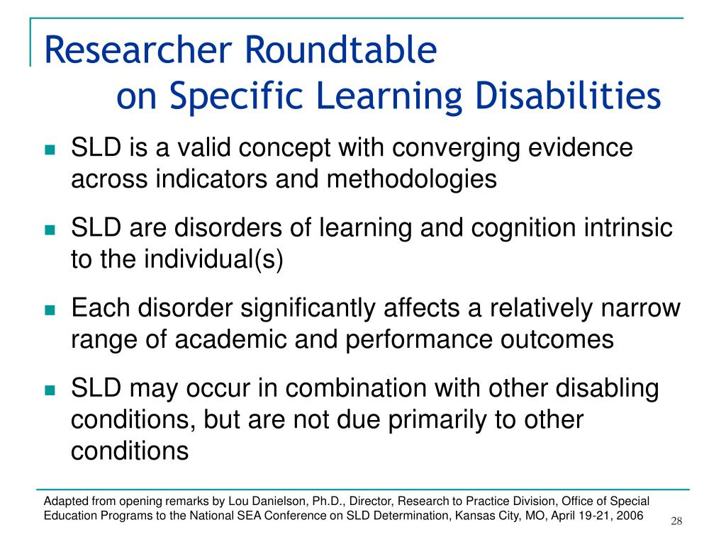 Researcher Roundtable on Specific Learning Disabilities