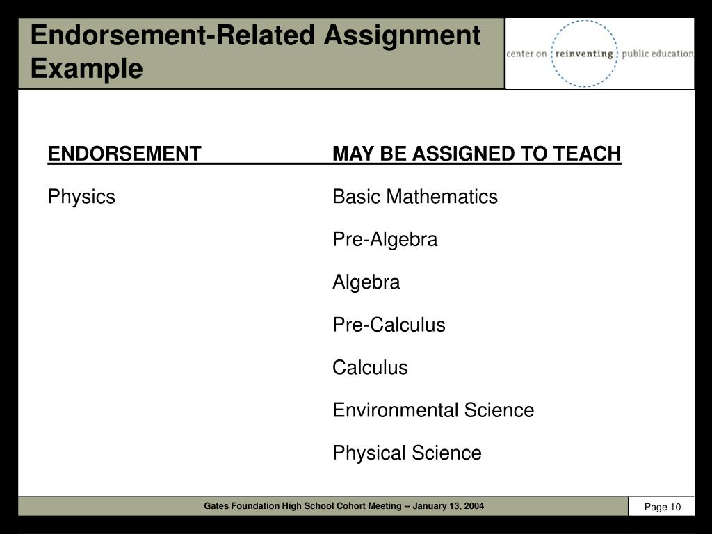 Endorsement-Related Assignment Example