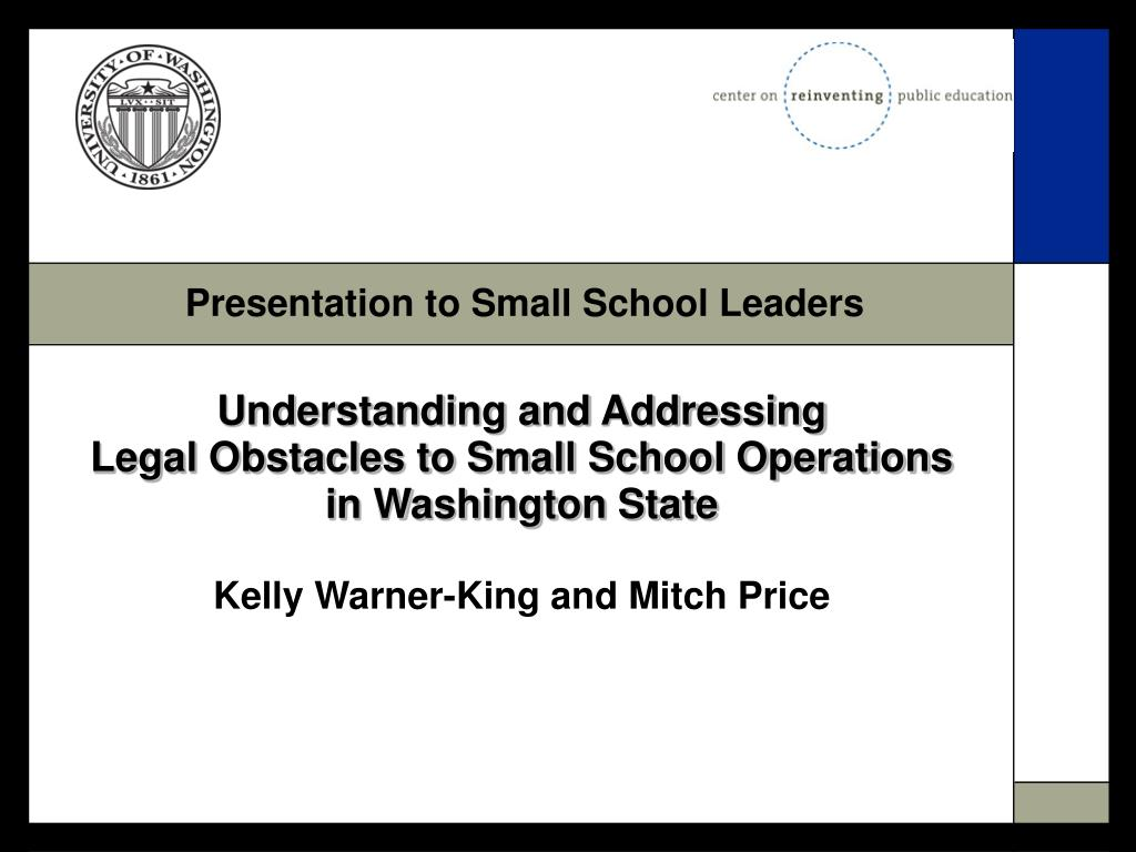 Presentation to Small School Leaders