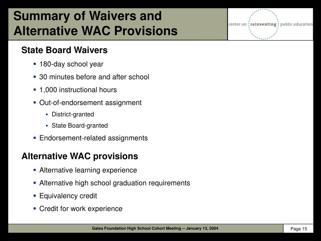 Summary of Waivers and Alternative WAC Provisions