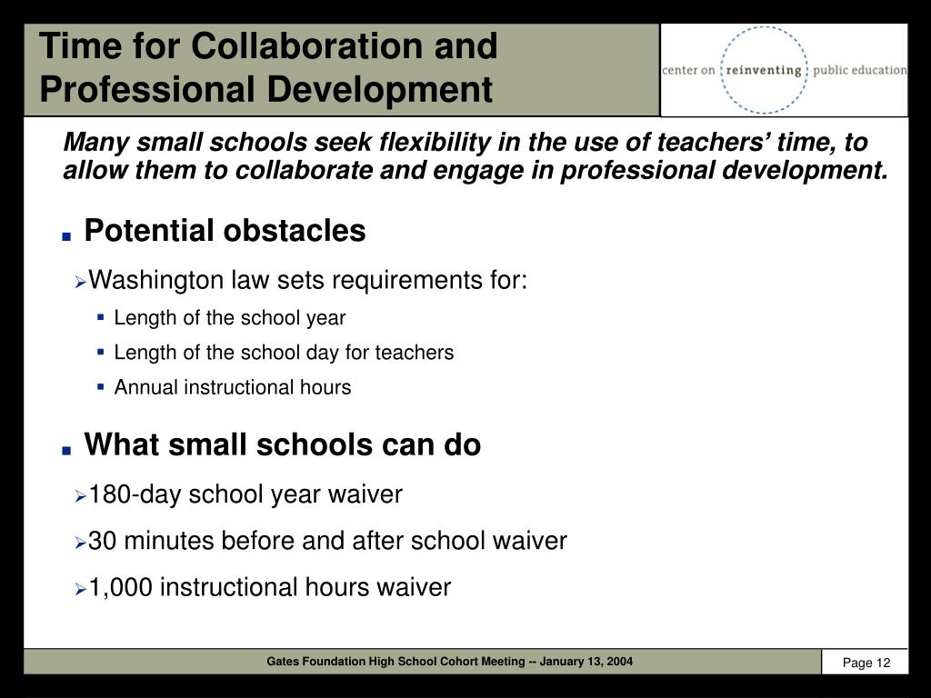 Time for Collaboration and Professional Development