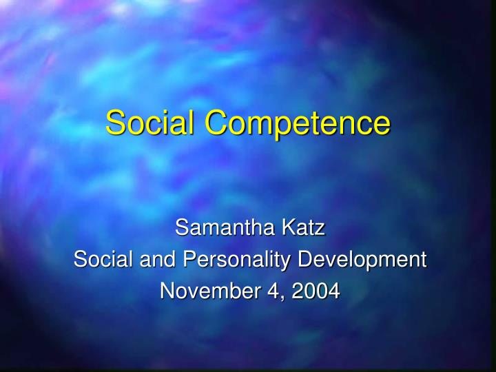social competence n.