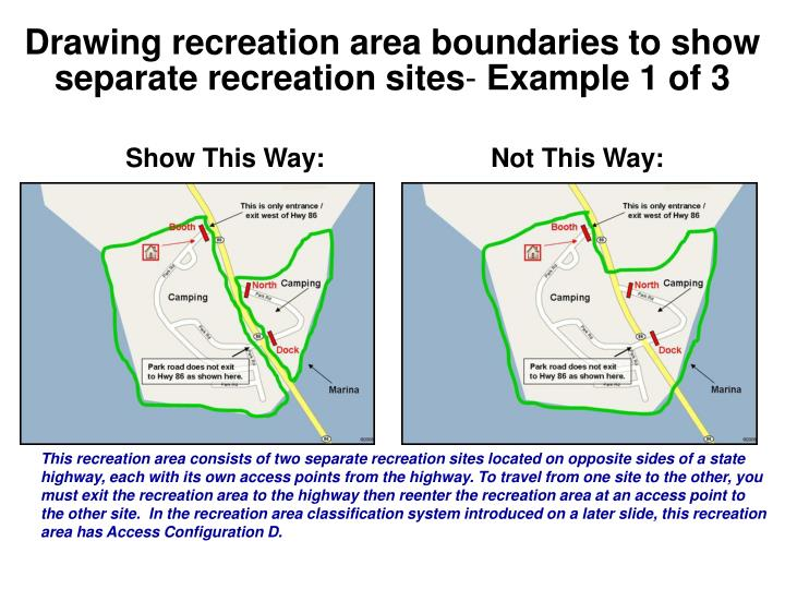 Drawing recreation area boundaries to show separate recreation sites