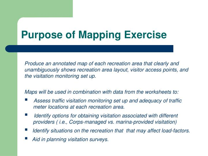 Purpose of mapping exercise
