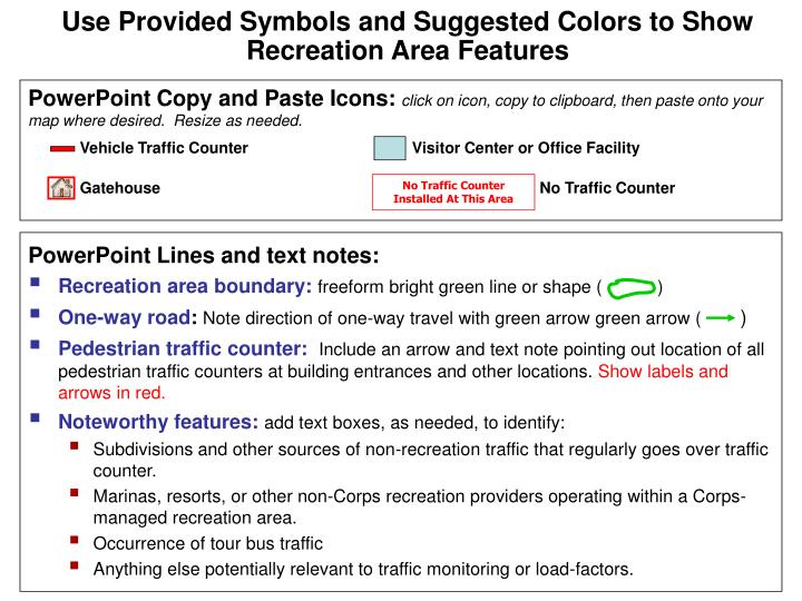 Use Provided Symbols and Suggested Colors to Show Recreation Area Features