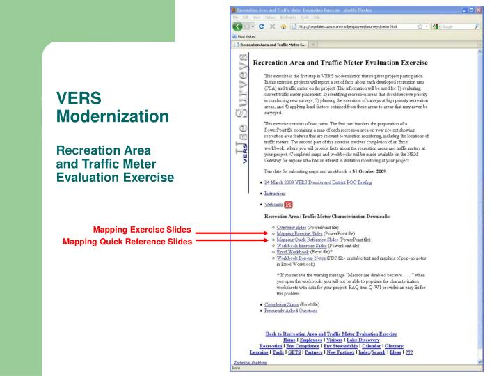 Vers modernization recreation area and traffic meter evaluation exercise