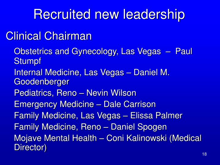 Recruited new leadership