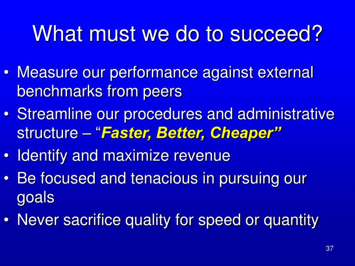 What must we do to succeed?