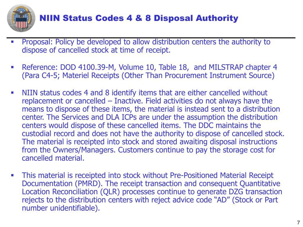 NIIN Status Codes 4 & 8 Disposal Authority