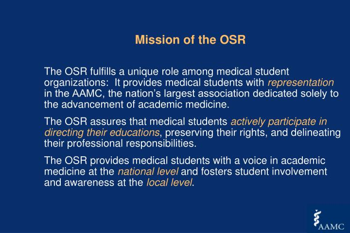 Mission of the OSR