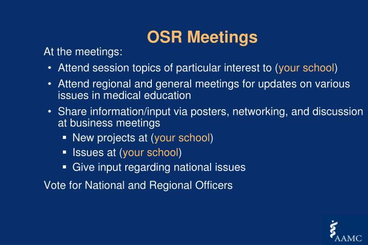 OSR Meetings