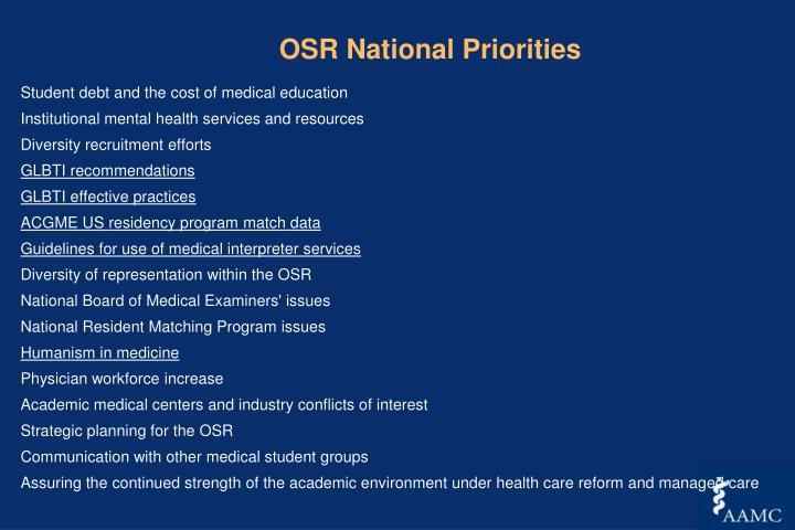OSR National Priorities