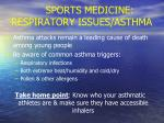 sports medicine respiratory issues asthma