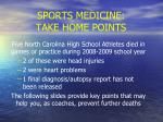 sports medicine take home points