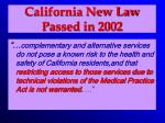 california new law passed in 2002