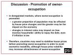 discussion promotion of owner occupation