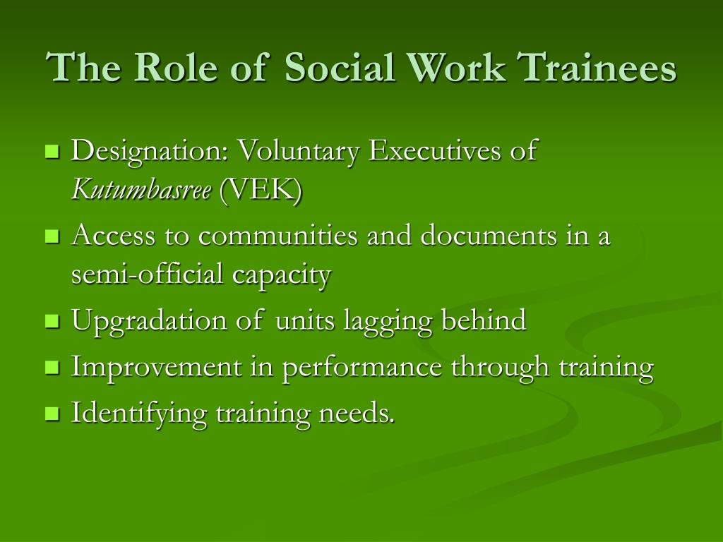 The Role of Social Work Trainees