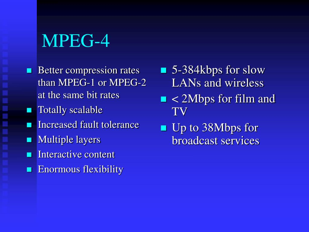 Better compression rates than MPEG-1 or MPEG-2 at the same bit rates