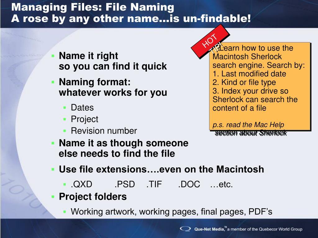 Managing Files: File Naming