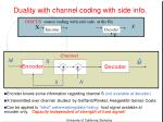 duality with channel coding with side info