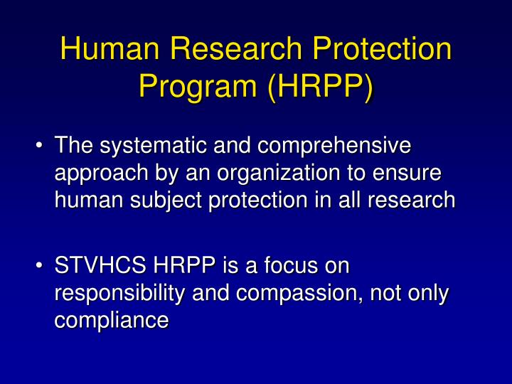 Human research protection program hrpp