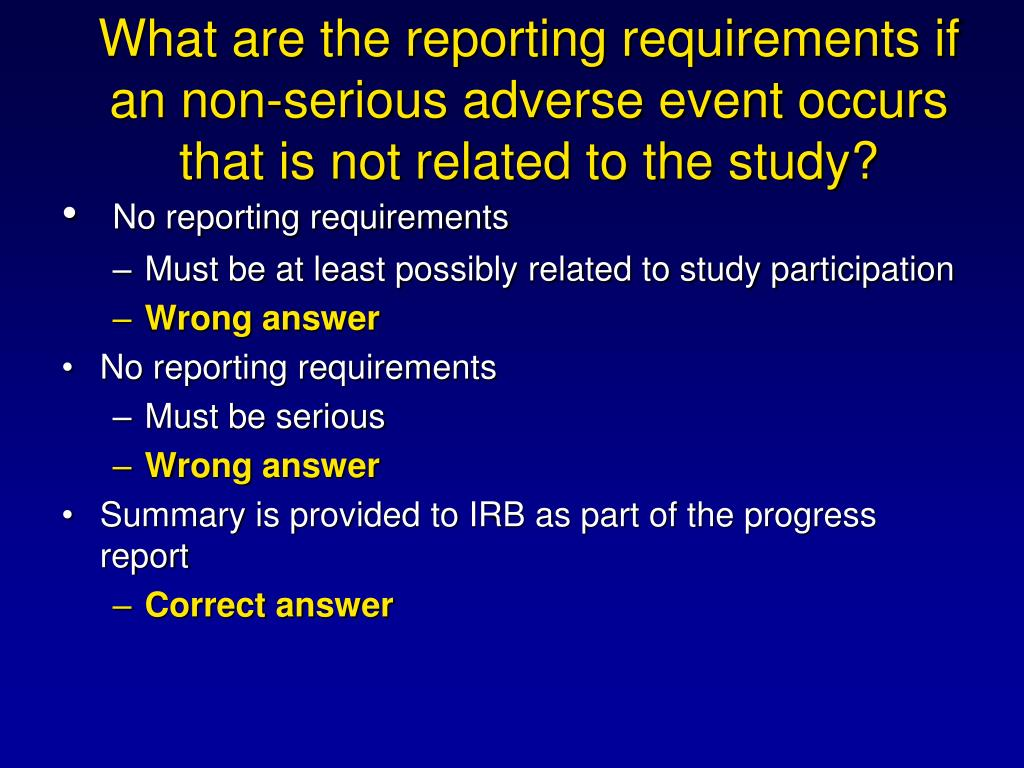 What are the reporting requirements if an non-serious adverse event occurs that is not related to the study?