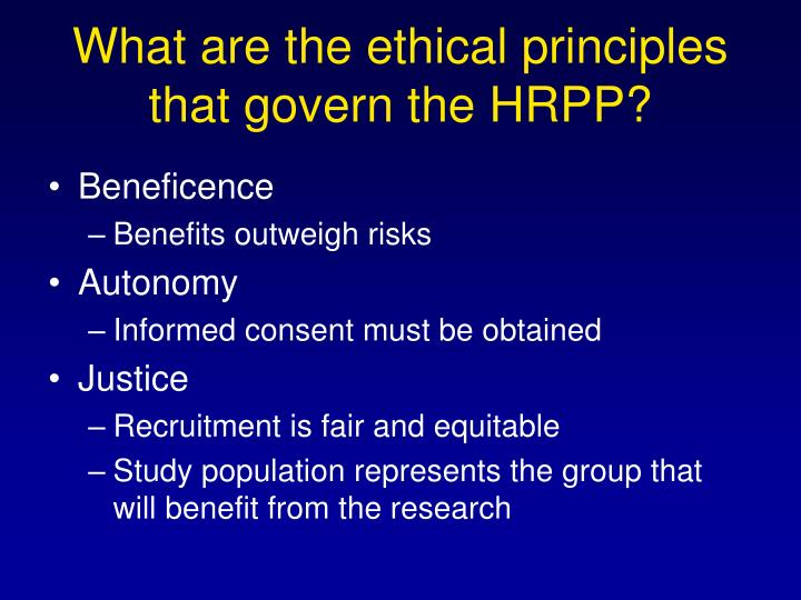 What are the ethical principles that govern the hrpp