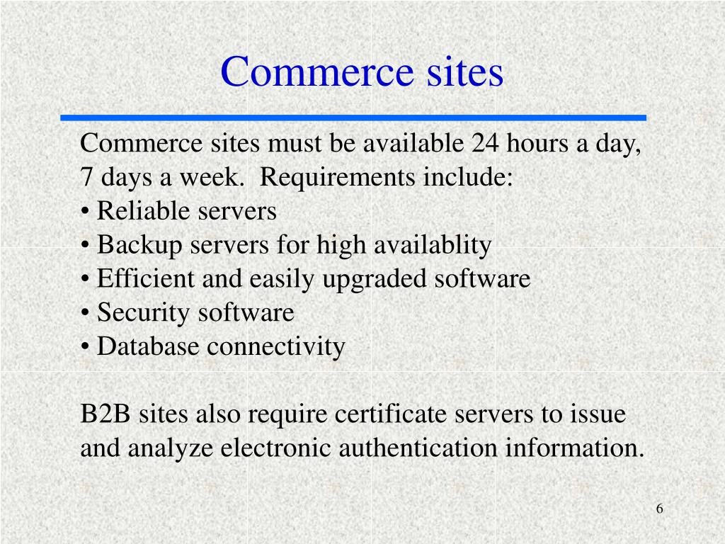Commerce sites