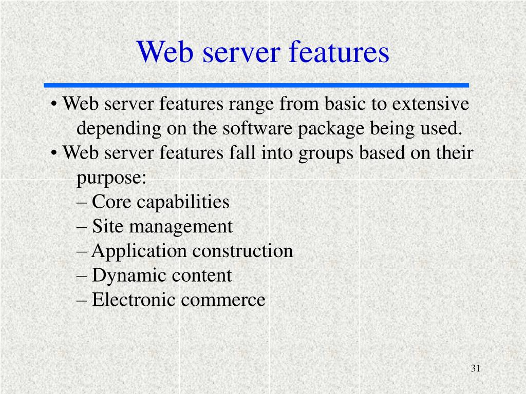 Web server features