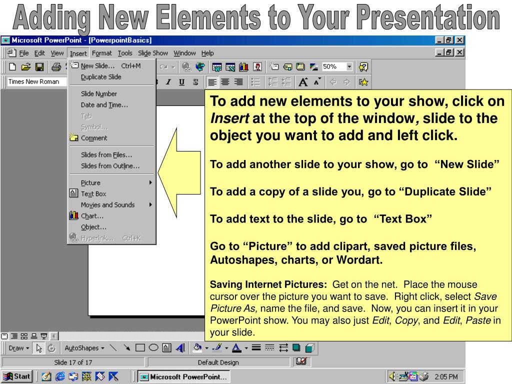 Adding New Elements to Your Presentation