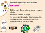 customize your first presentation add clip art