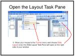 open the layout task pane