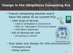 design in the ubiquitous computing era