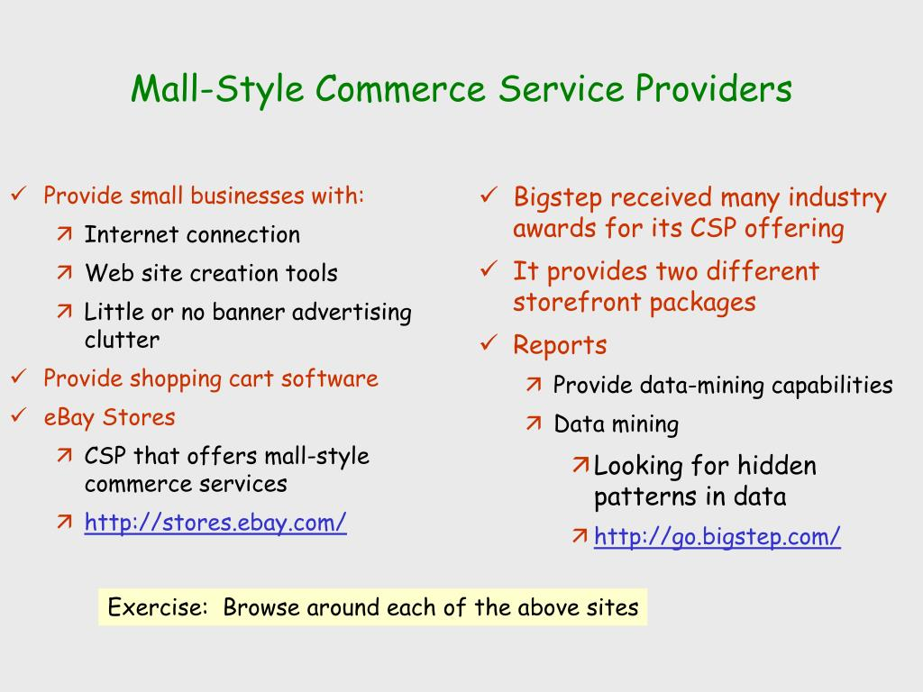 Mall-Style Commerce Service Providers
