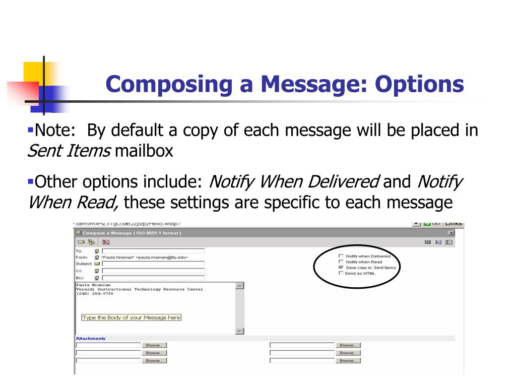 Composing a Message: Options