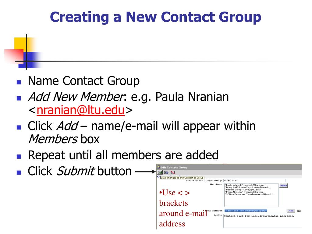 Creating a New Contact Group