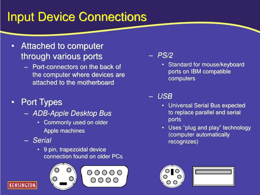 Attached to computer through various ports