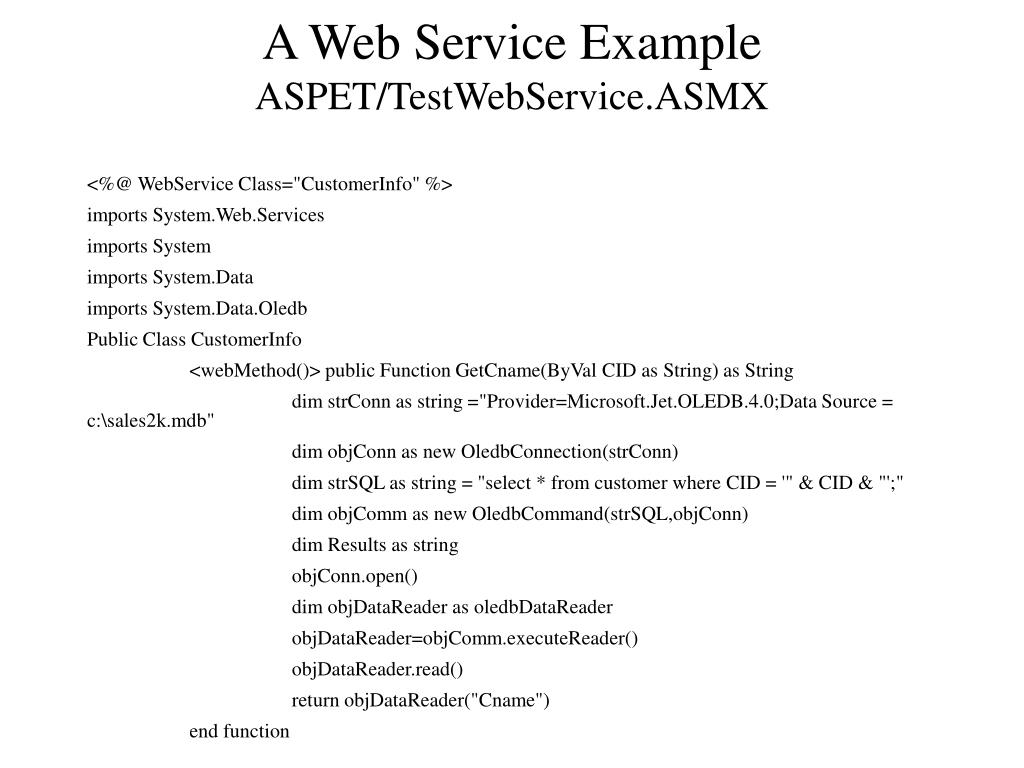 A Web Service Example