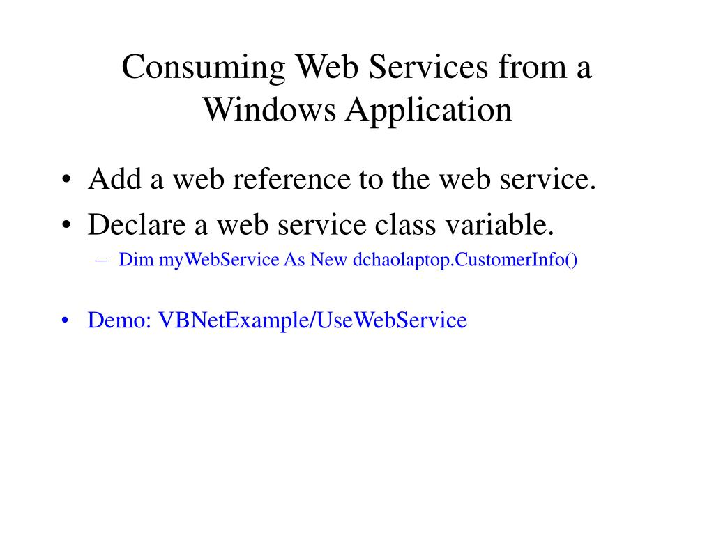 Consuming Web Services from a Windows Application