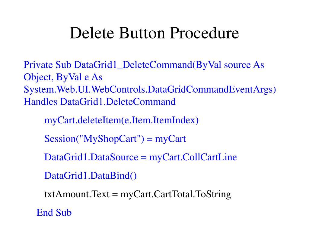 Delete Button Procedure