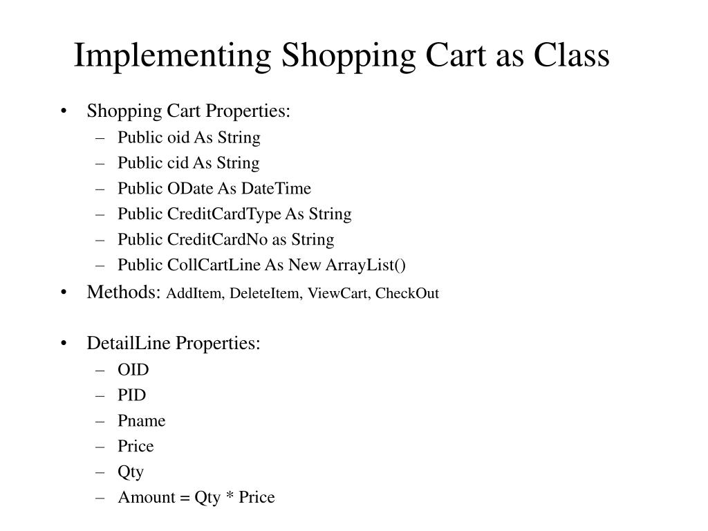 Implementing Shopping Cart as Class