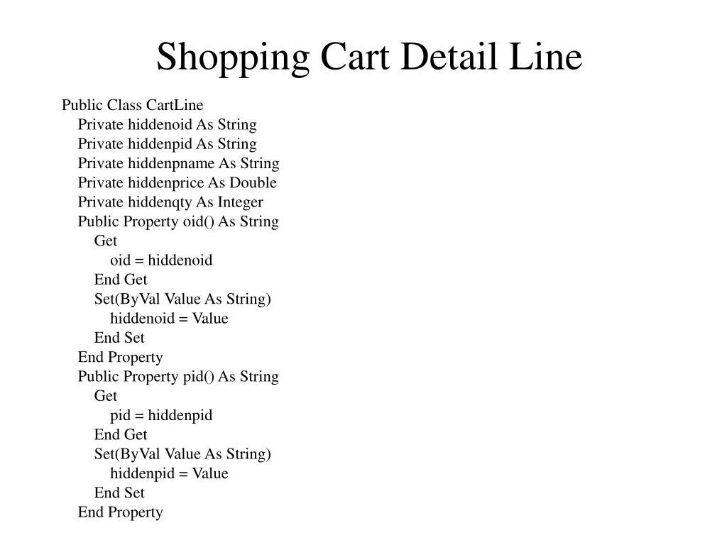 Shopping Cart Detail Line