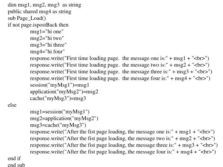 Dim msg1, msg2, msg3  as string