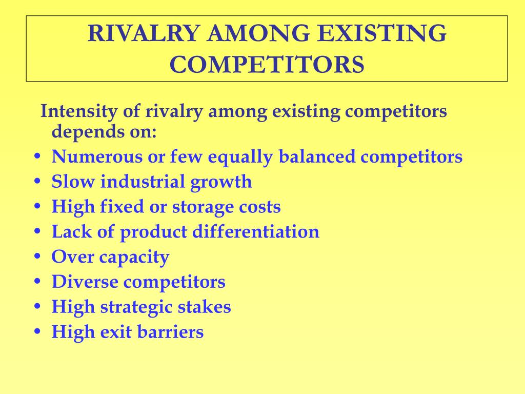rivalry among existing competitors essay