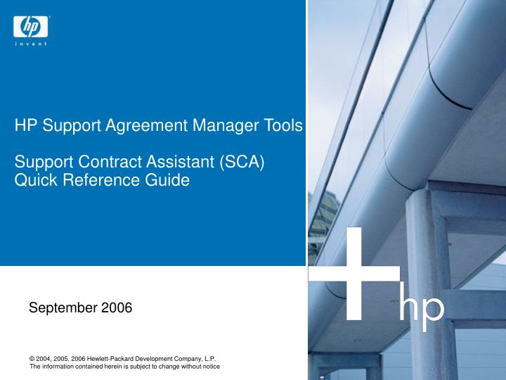 Hp support agreement manager tools support contract assistant sca quick reference guide