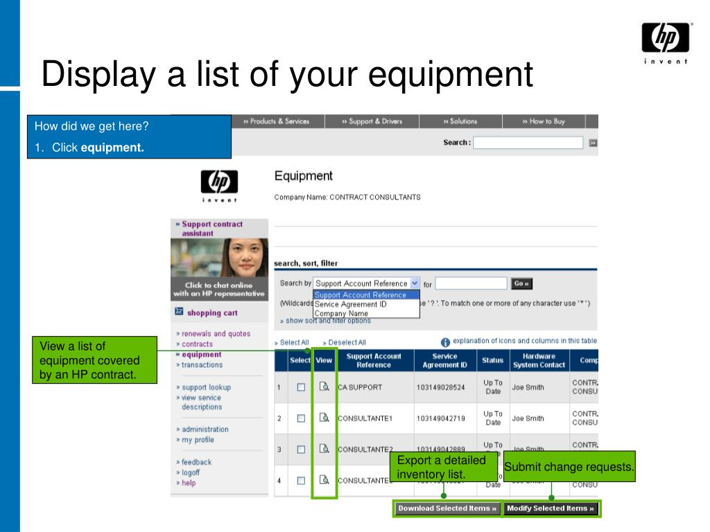 Display a list of your equipment