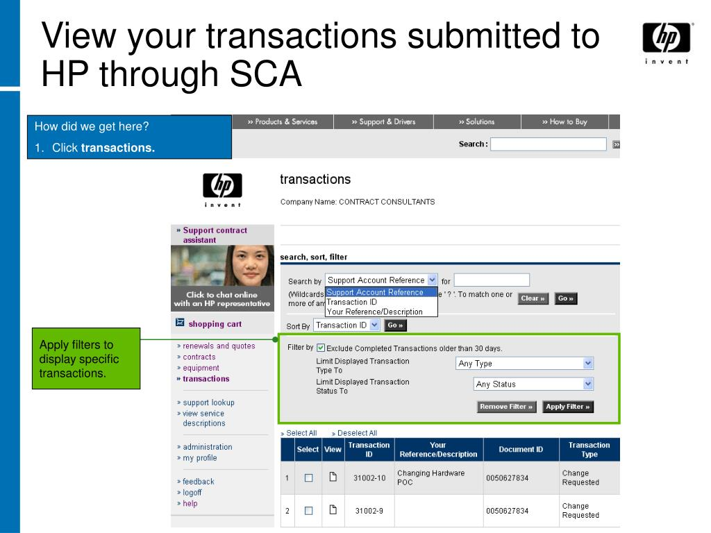 View your transactions submitted to HP through SCA