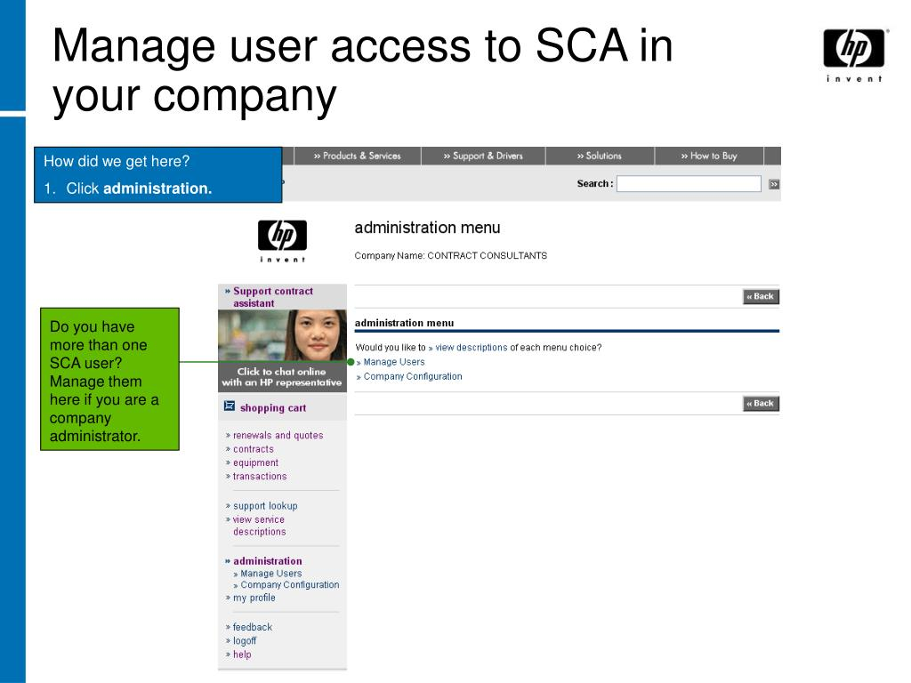 Manage user access to SCA in