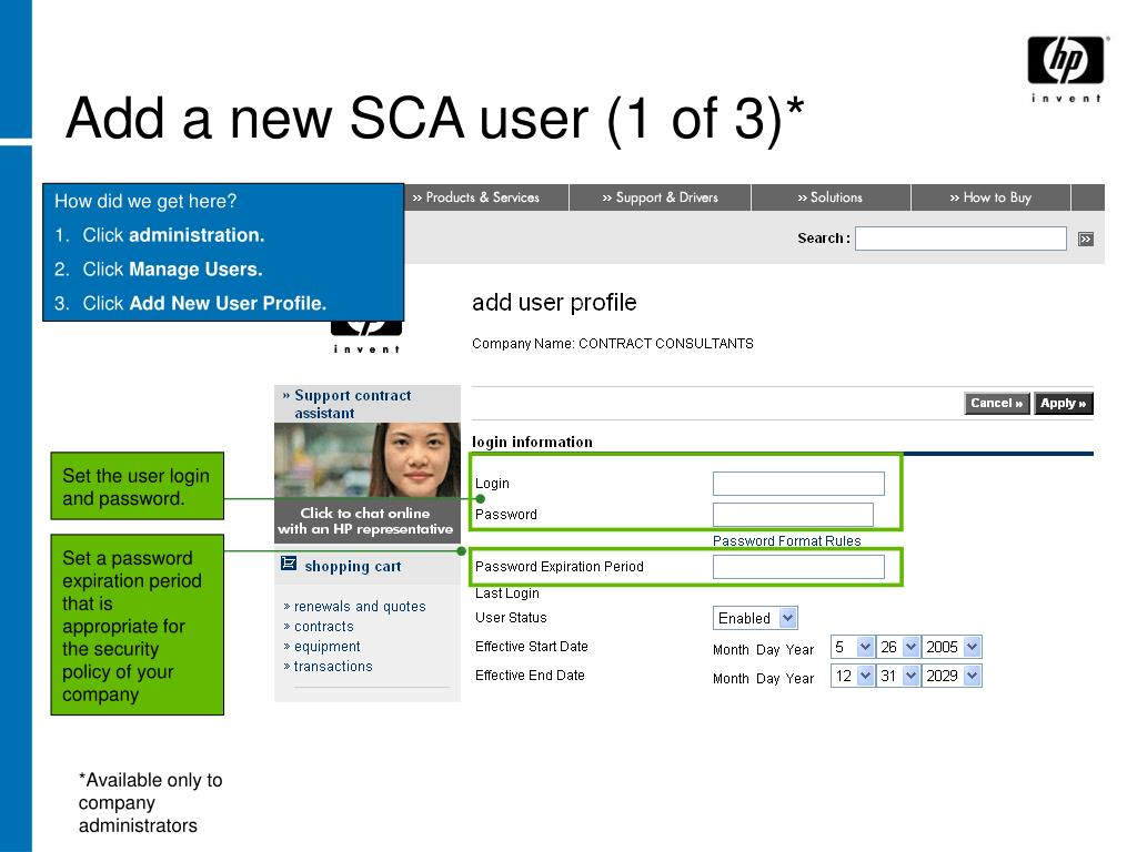 Add a new SCA user (1 of 3)*
