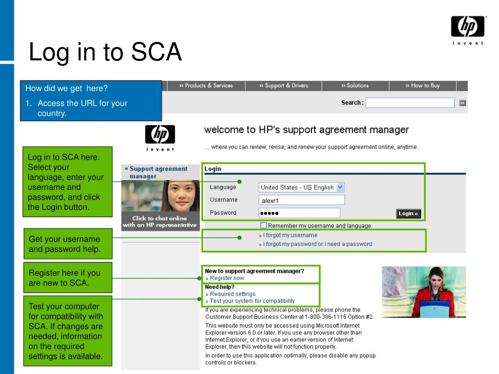 Log in to SCA